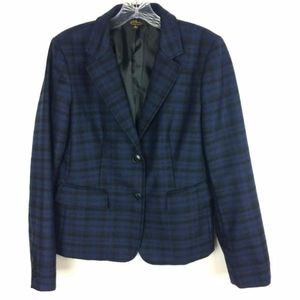 LL Bean Blue Black Plaid Wool Jacket Lined